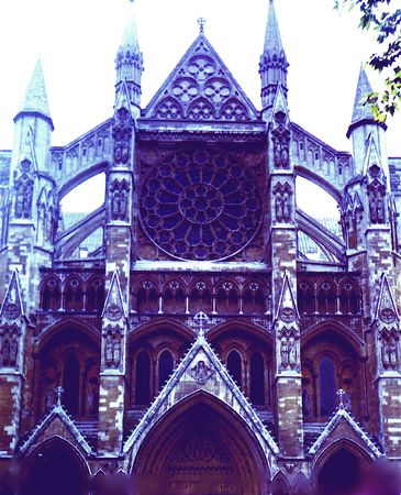 The Exterior of the North Transept of Westminster Abbey, London.  Also known as Statesmens Aisle.  With color modifications.