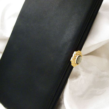 clasp: Vintage Black Evening Bag with Stone Clasp II