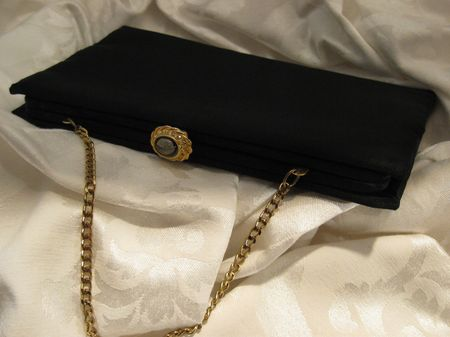 Vintage Black Evening Bag with Stone Clasp III