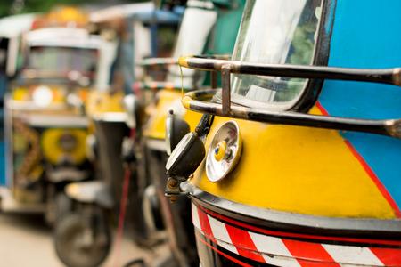 rikscha: Auto rickshaw (tuk-tuk) in an Indian street