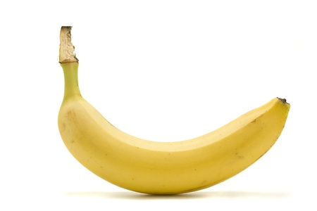 banana: A Banana Isolated On White. Stock Photo