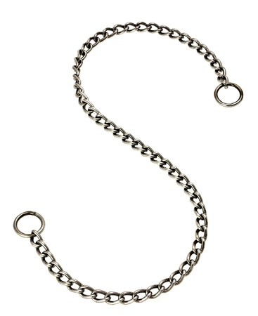 Metal Link  Chain Isolated On White.  photo