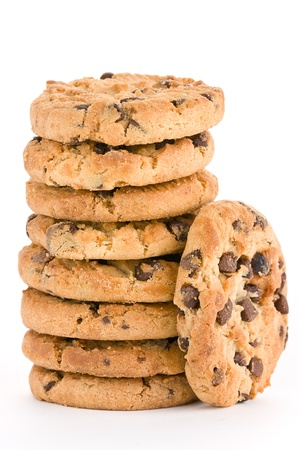 A stack of chocolate chip cookies isolated on a white background. photo