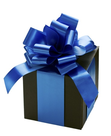 Black Gift Box Met Blue Ribbon Bow Op Wit