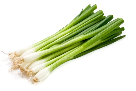 Bunch of Spring onions on white.