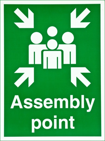 assembly: Green fire assembly point sign