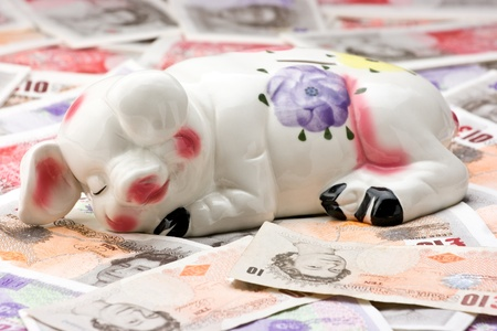 Smiling relaxed piggy bank sleeping on a background of cash photo
