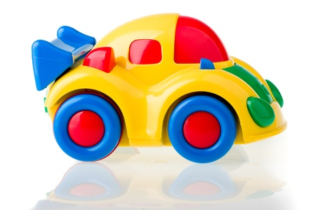 Toy car isolated over white. photo