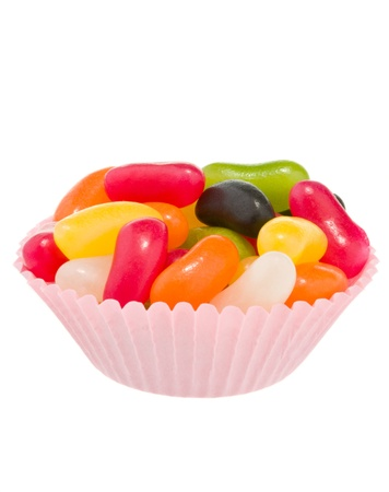 Jelly beans in pink cup cake case photo