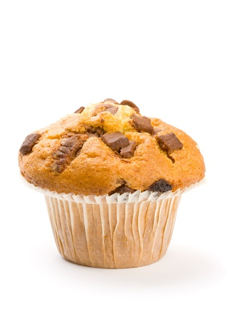 Chocolate chip muffin focus on front chocolate chips Stock Photo - 12036019