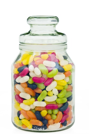 jellybean: Jelly beans in a traditional glass jar with clipping path