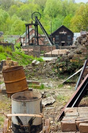 old mining building: Derelict iron works industrial museum
