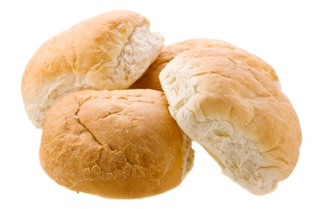 bread rolls: Four fresh buns isolated on white background