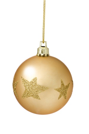 Golden Christmas Tree Bauble With Glitter Star Pattern Hanging Over White Background  photo