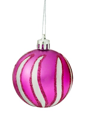 silver balls: Purple Christmas Tree Bauble With Sparkly Glitter Pattern Hanging Over White Background  Stock Photo