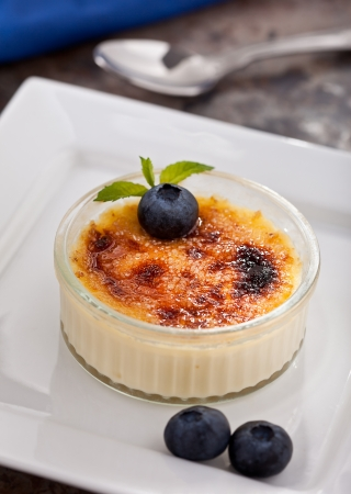 brulee: Creme Brulee With Blueberries and mint garnish