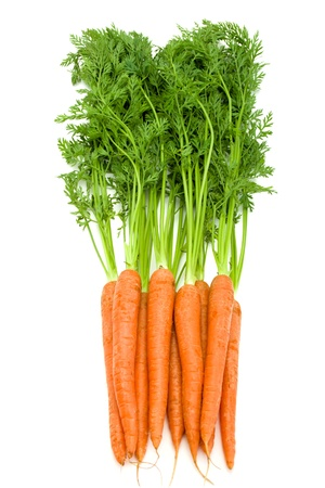Bunch of fresh  carrots with green tops isolated on white