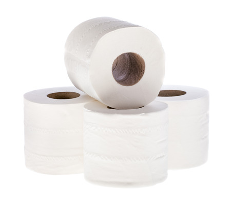 tissue paper: Toilet Tissue Paper rolls in small group over white