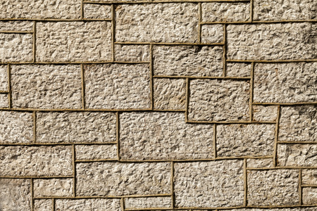 morter: Wall built in the year 1856. The brickwork is a type of  limestone from Llanddulas North Wales Great Britain
