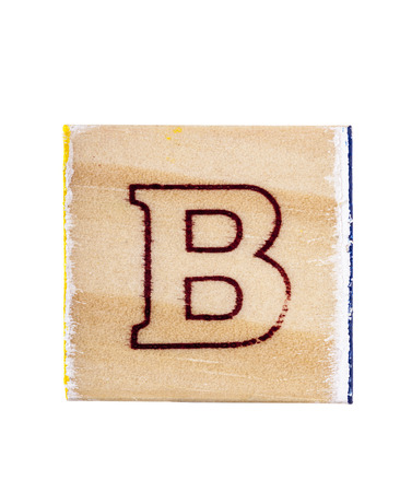 studio b: Wooden alphabet block with letter B isolated on white Stock Photo