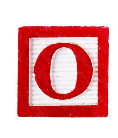 over white: Wooden alphabet block letter O isolated on white Stock Photo