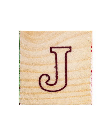 studio b: Wooden alphabet block with letter J isolated on white