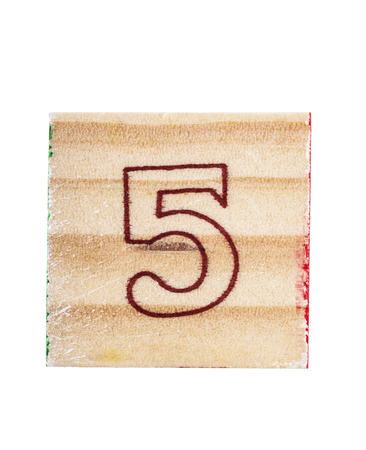 block number: Wooden alphabet block with number 5 isolated on white