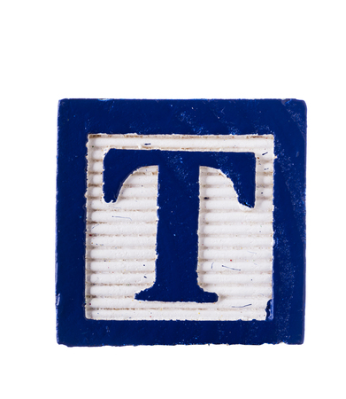 studio b: Wooden alphabet block with letter T isolated on white