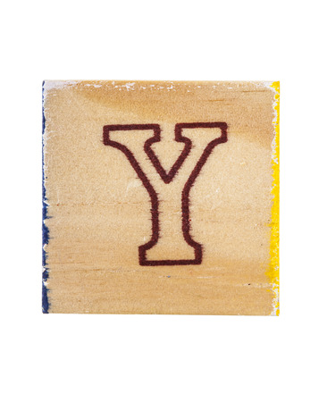 studio b: Wooden alphabet block with letter Y isolated on white