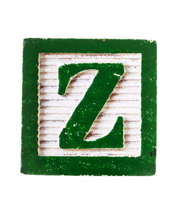 studio b: Wooden  alphabet block with letter Z isolated on white Stock Photo