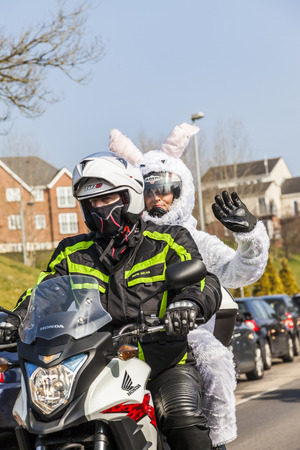 disadvantaged: Stoke On Trent Staffordshire Uk, Sunday 13 March 2016 Thousands of bikers travel through the streets of Stoke On Trent collecting  Easter eggs. Now in its 38th year the star bikers annual Easter egg run is a 14-mile route around the city of Stoke on Trent