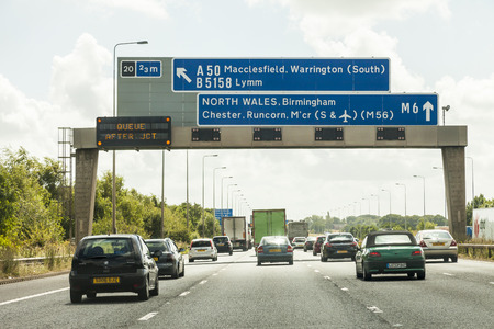 M6 England. 8th Aug 2016. Traffic Jam north bound a constant problem for commuters due to road works and accidents on the M6 Motorway.
