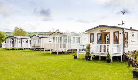 typically british: Prestatyn, North Wales, United Kingdom. September 10 2015: Typical British static caravan holiday park Wales Clwyd Editorial