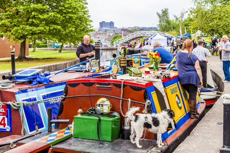 typically british: Etruria, Trent and Mersey Canal, England- June 4 2016 : People of all ages at the Trent and Mersey Canal festival, Etruria, Staffordshire, England.