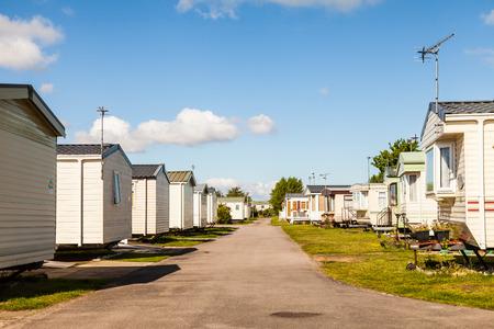 typically british: Static caravan Holiday Park in Prestatyn, North Wales, United Kingdom.