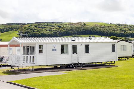 typically british: Static caravan park. Presthaven Sands, Gronant, North Wales.