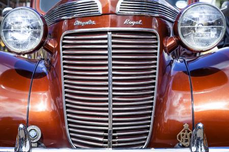 Leek, Staffordshire, England, U.K - April 19 2014 Front View of Chrysler Royal classic car. Close up.