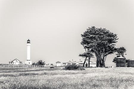 霧の朝のメンドシノ郡でプンタ アリーナ灯台の景色