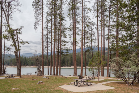 Bass Lake, a popular vacation spot near Yosemite and the Sierra National Park, Great destination for relaxing photo
