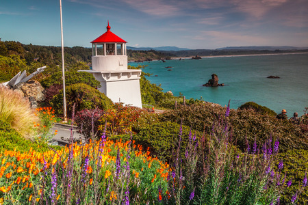 Memorial Lighthouse in Trinidad California, colorful flowers view and colorful bay