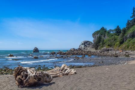 klamath: Wilson Creek beach, Klamath California, big rocks formation in water, blue sky Stock Photo