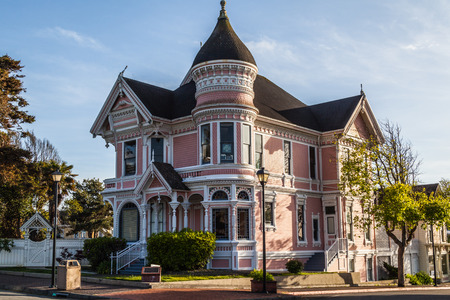 Pink Victorian House in Eureka old downtown, California Editorial