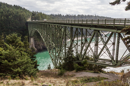 Deception Pass Bridge over the Carbon River in Washinton State, USA