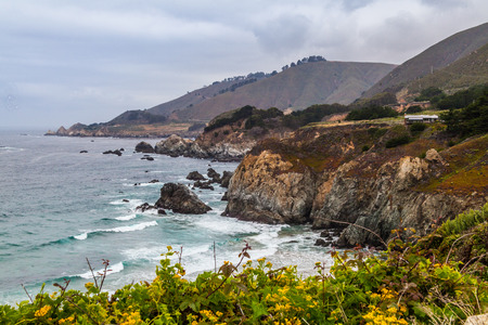 yellow wildflowers: California Coastline near Big Sur, south of San Francisco, beautiful seascape with cloudy sky and colorful landscape, with yellow wildflowers Stock Photo