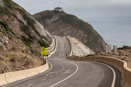 Devil's Slide Trail  converted from a former segment of Highway 1, that gives hikers, runners, bicyclists and equestrians access the rocky heights of Devil's Slide above the Pacific Ocean near Pacifica south of San Franscisco Stock Photo
