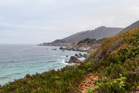 seascapes: California Coastline near Big Sur, south of San Francisco, beautiful seascape with cloudy sky and colorful landscape Stock Photo