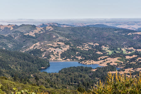 marin: From top of Mt. Tamalpais you can see the  Meadow Club Golf Course and Lakes Bon Tempe and Alpine in Marin County Stock Photo