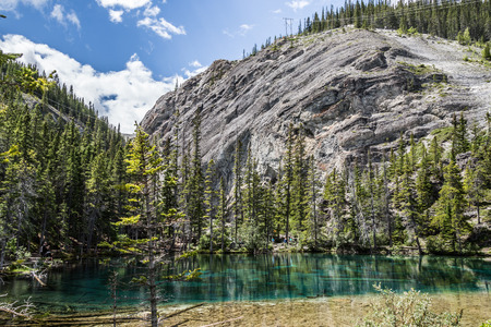 canmore: Grassi Lakes. two majestic turquoise lakes.  Panoramic views of Canmore Grassi Lakes is also a popular rock climbing spot. Stock Photo