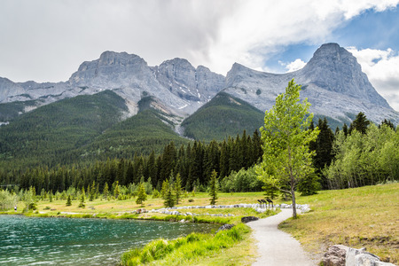 lakes and rivers: Lakes, rivers,mountains that forms the landscape of Canmore in the Rocky Mountains of Alberta Canada Stock Photo