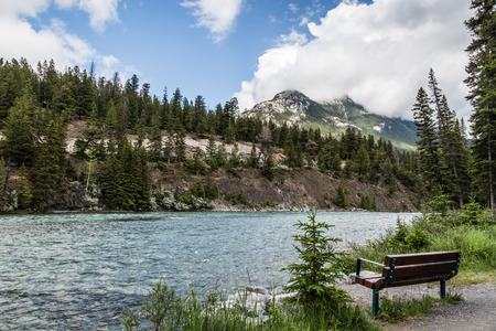 banff: Bow river and blue sky in Banff Canada Stock Photo